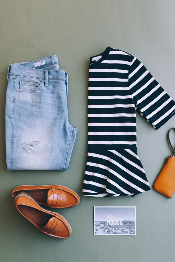 We love a peplum paired with destructed boyfriend jeans and cognac accents. Get this chic spring look from Gap.