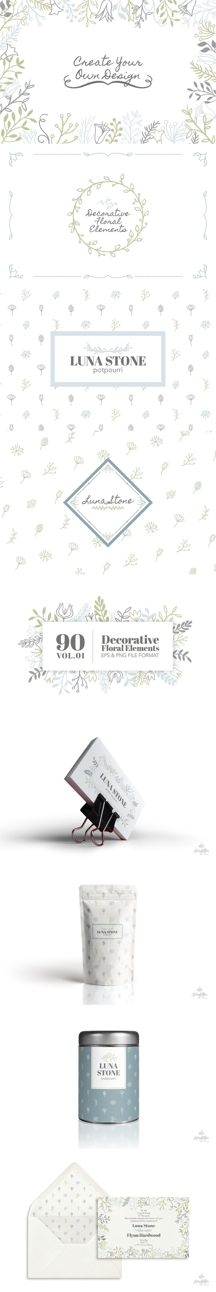 90 Decorative Floral Elements Vol.01 by Storyteller Imagery on @creativemarket