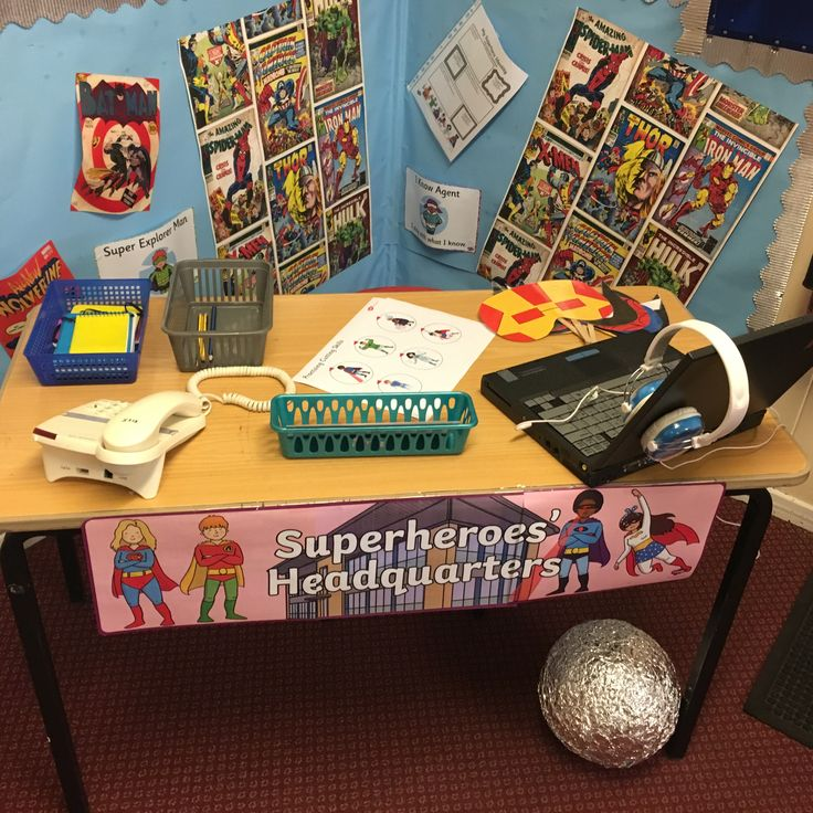 Super hero role play area. Year 2. Superhero topic.