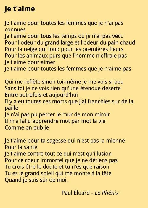 Paul Éluard - Je t'aime