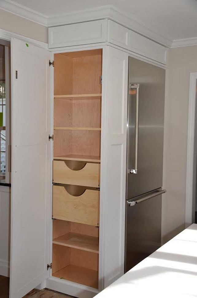 Kitchen Pantry Cabinet. Refrigerator Cabinet with side Pantry. How to use every inch of your kitchen cabinets. Kitchen Cabinet Plans. Andrea Korzon Interiors, LLC.