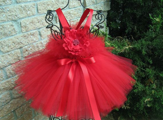 Tutu Dress TINY STRAWBERRY RED  Bit of Fluff Baby 06 by ElsaSieron, $55.00