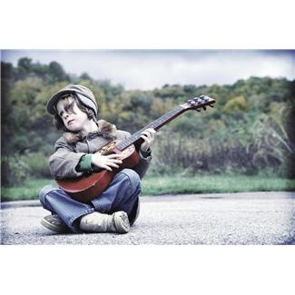 boy playing guitar - what a cool shot!