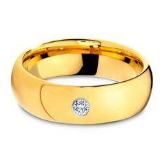 El Oro Amarillo Con Blanco Diamante: Anillo De Tungsteno Con Diamante | Engagement Rings