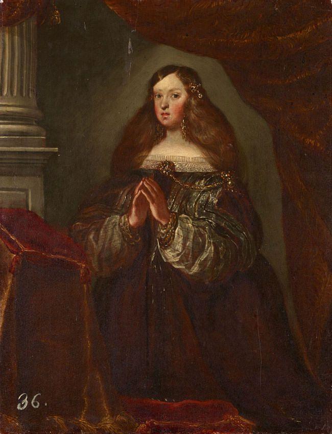 Mariana de Austria, orante Círculo de Diego Velázquez, h. 1658-1660 Óleo sobre lienzo, 53,5 x 41,5 cm Patrimonio Nacional, Monasterio de San Lorenzo de El Escorial