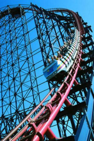 Blackpool Pleasure Beach- The Big One. We got stuck at the top of here. For real! The mechanics had to come out.