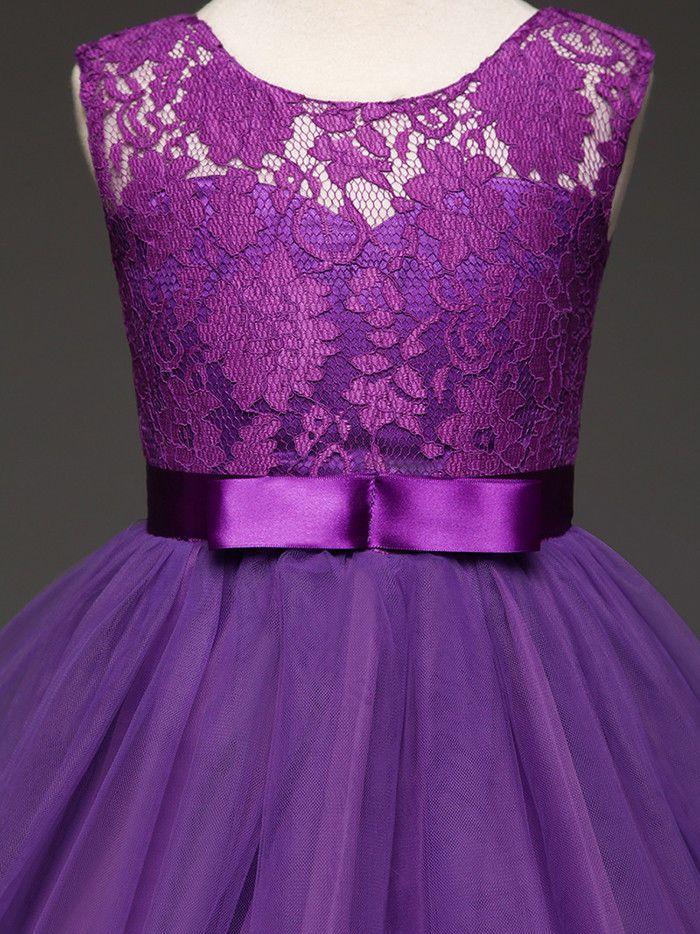 Blumen Mädchen Maxi Kleid Festkleid Kinder Hochzeit Party Spitzenkleid 120-170