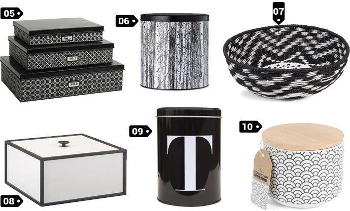 wishlist objets d co design noir et blanc des petites boites et contenants bynord bylassen. Black Bedroom Furniture Sets. Home Design Ideas