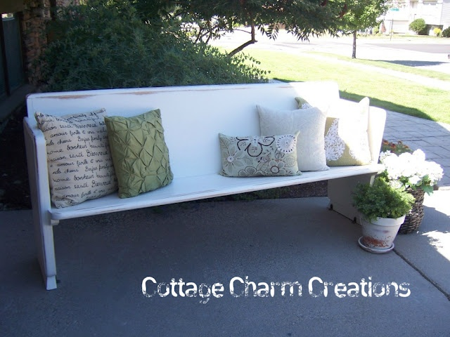 new life into an old rough church pew: Paintings Furniture, Decor Ideas, Beautiful Church, Benches Cushions, Old Church, Cushions Ideas, Charms Creations, Church Pew, Cottages Charms