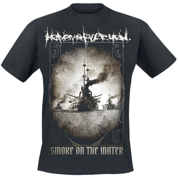 """Esclusiva EMP! Classica T-Shirt uomo nera """"Smoke On The Water"""" degli #HeavenShallBurn con ampia stampa sul davanti e scritta """"…And Fire In The Sky"""" sul retro."""