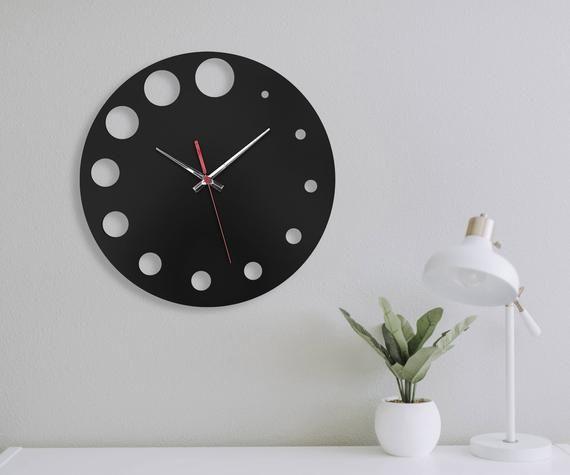 Horloges Modernes Rustiques D Horloge De Mur Noire Pour L Horloge De Mur Silencieuse Unique Horloge De Mur Decorative Horloge De Mur Horloge Ronde D Horloge De Em 2020 Mdf