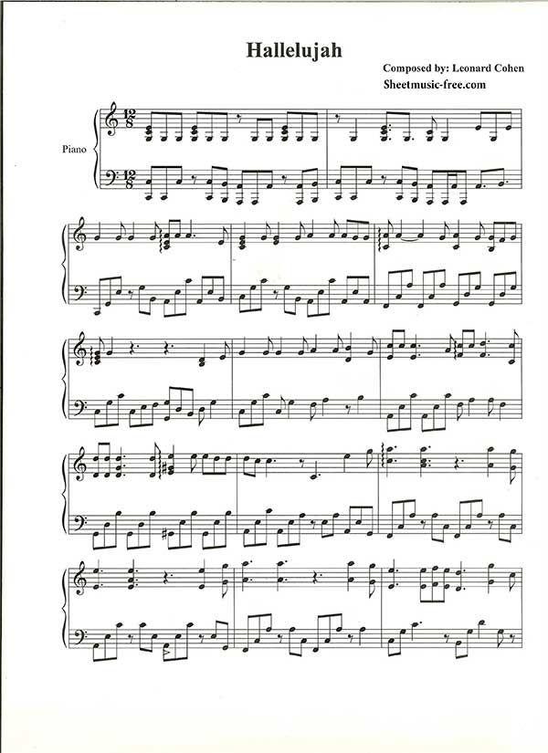 Hallelujah Piano Sheet Music Leonard Cohen Music Piano