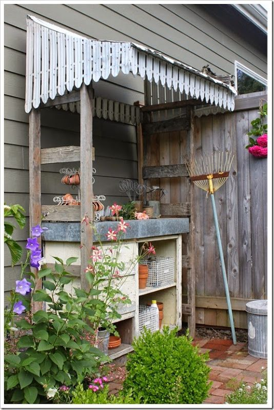 backyard potting bench