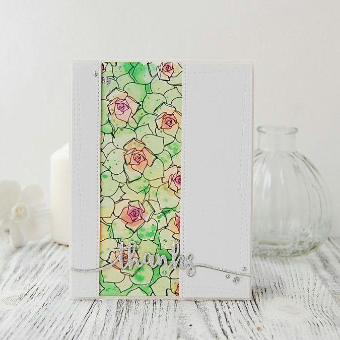 открытка с штампингом цветком, прием маскинга