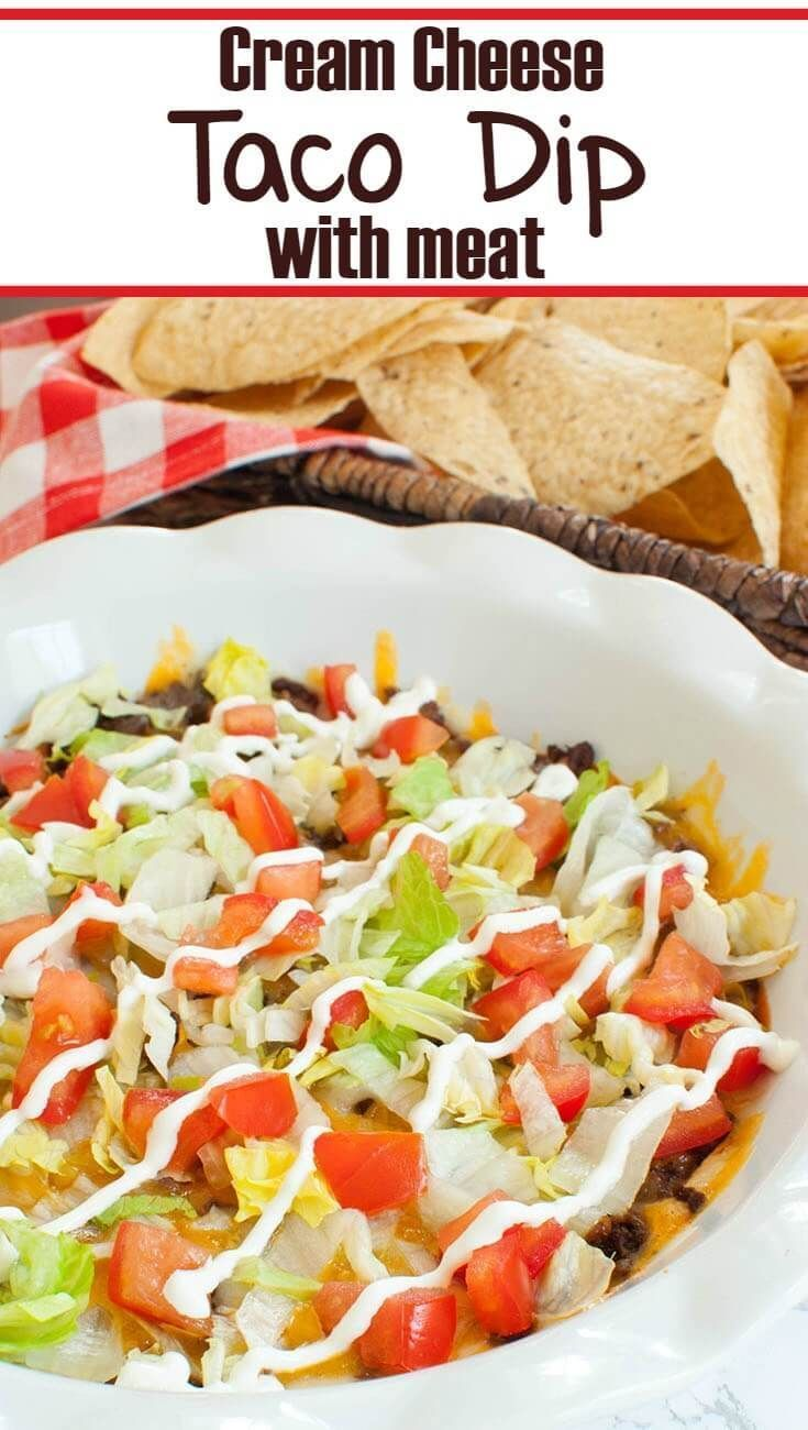 Creamy, hot taco dip with meat. This cream cheese taco dip is like a ground beef taco pizza dip! Great for Cinco de Mayo or an easy baked dip. Serve with tortilla chips. Great appetizer for a football party or tailgate.