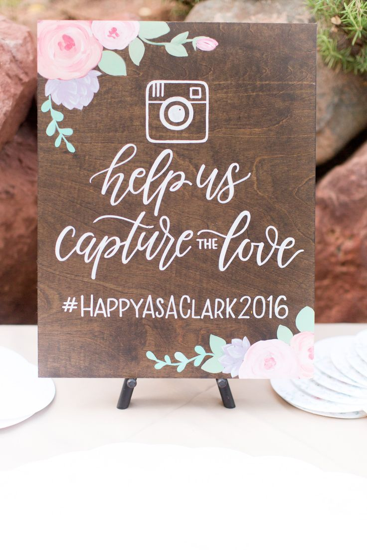 rustic floral accented instagram sign