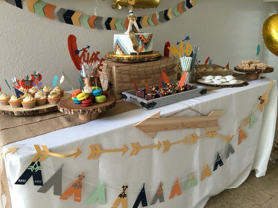 Tribal camping birthday party decorations.