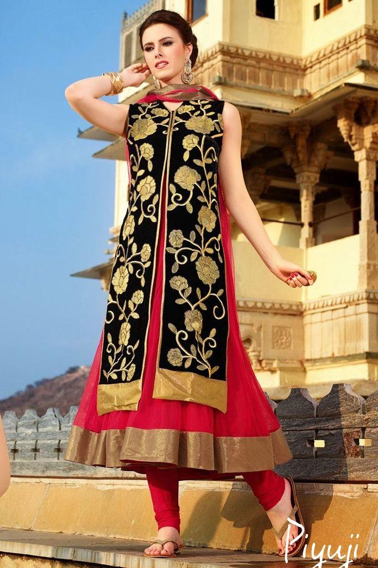 sleeve less red black full length salwar suit