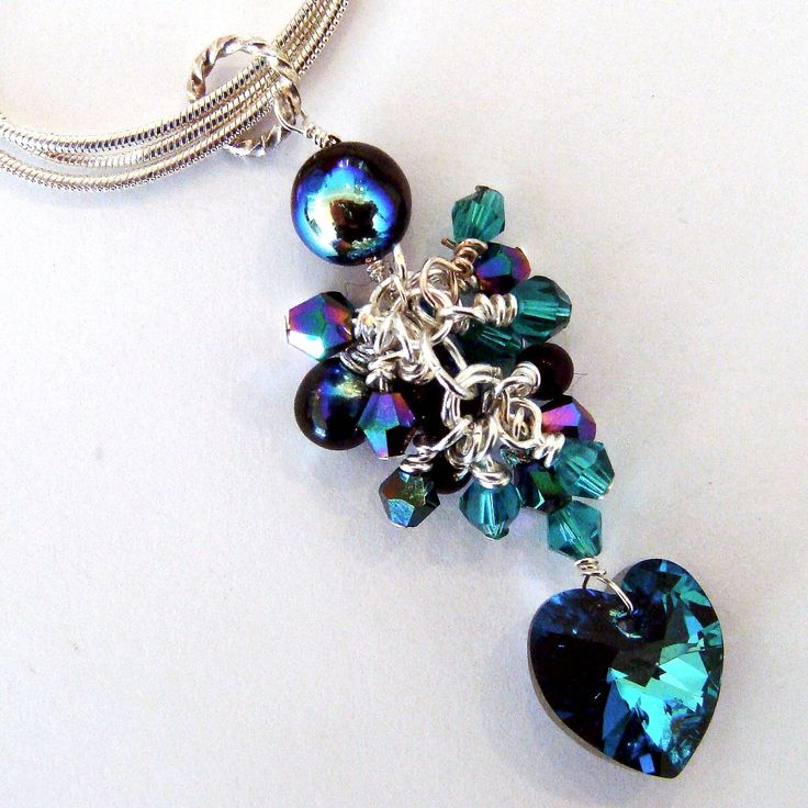 Heart of the Ocean Pendant - Swarovski Heart with with crystals on a silver plated triple chain
