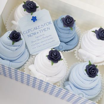 Now and Then - Boxed Baby Clothes Cupcakes - Blue from Born Gifted