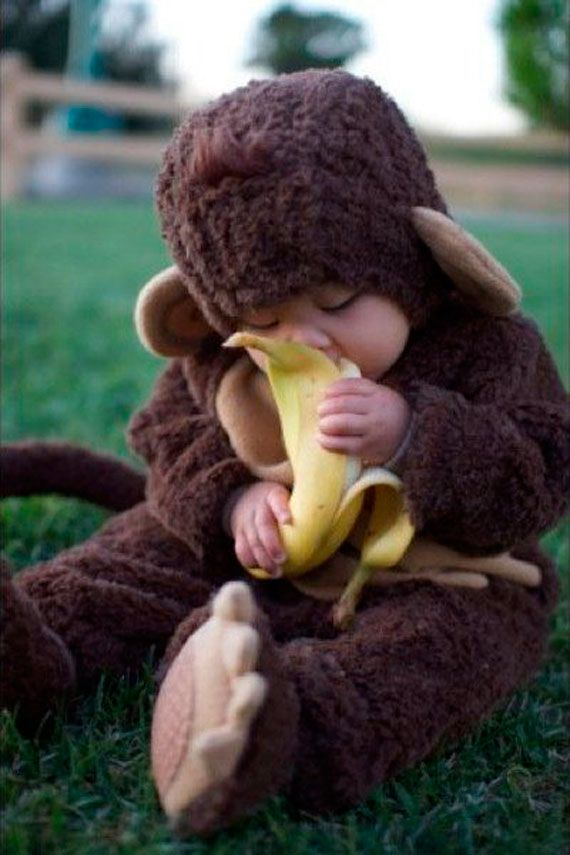 Cute and Creative Baby Costume PortraitsCutest Baby, Halloween Costumes, Bananas, Baby Baby, First Halloween, Baby Costumes, Baby Monkeys, Kids, Monkeys Baby