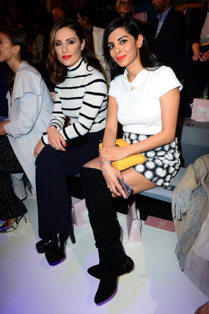 Pin for Later: Die Stars besiedeln Berlin bei der Fashion Week Nazan Eckes und Collien Ulmen-Fernandes bei der Modenschau von Marc Cain