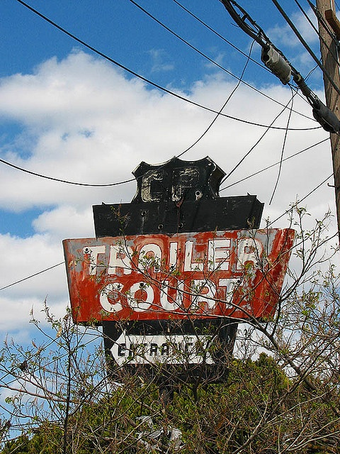 trailer park signs | trailer court northern california an old neon sign for a trailer park ...