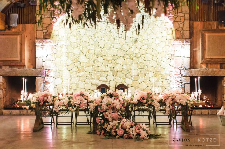 Bridal table, Luxury Rustic Wedding, Orchids, roses and Proteas, luxury wedding planner South Africa, Zavion Kotze