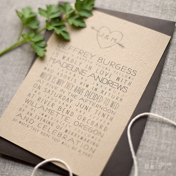 love quotes for invitations%0A A faux carved heart  u     arrow monogram   original offbeat wording decorate  the invite