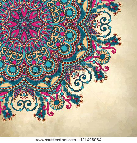 stock vector : flower circle design on grunge background with lace ornament