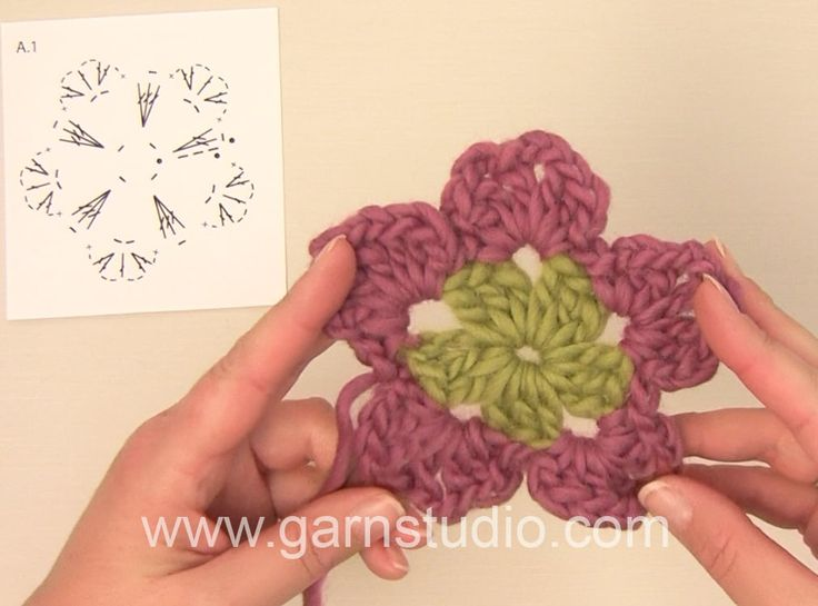 How to crochet the geranium flower in DROPS 147-57
