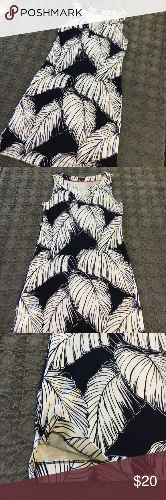 Talbots palm print dress Simple and perfect dress from Talbots. Worn one time during summer vacation last year.  Navy blue and white with v-neck. Perfectly simple and easy to wear. Small slits on each side. Size is Small Petite▫️100% cotton▫️Machine wash cold inside out Talbots Dresses