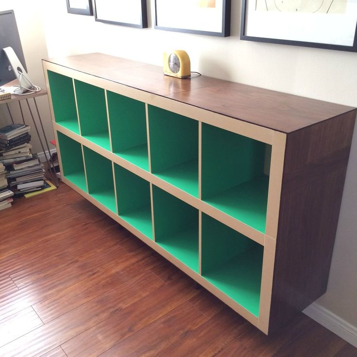 Contact paper inside bookcase= simple pop of color