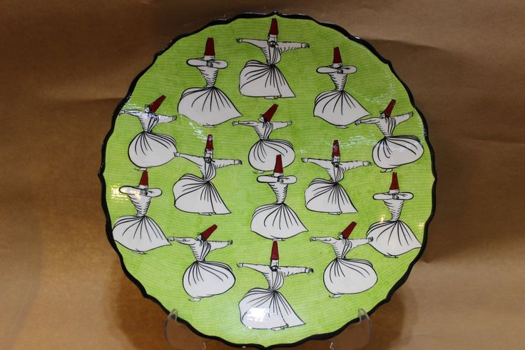 CERAMIC DERVISH PLATE, GREEN, 20 CM