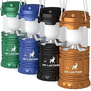 LED Camping Lantern Flashlights Camping Equipment - Great for Emergency, Tent Light, Backpacking, 4 Pack Gift Set