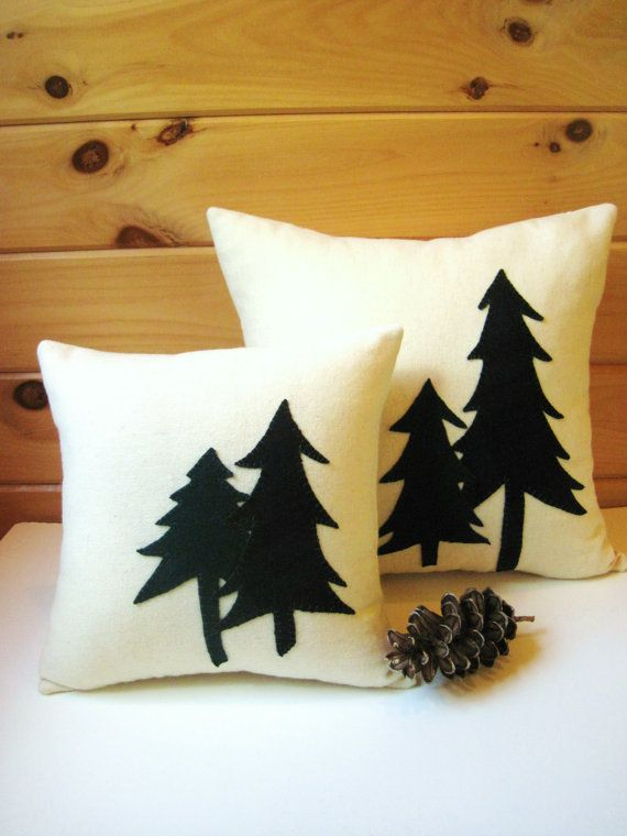Rustic Pine Trees Pillow by AwayUpNorth on Etsy #maineteam #trees #decorativethrowpillow