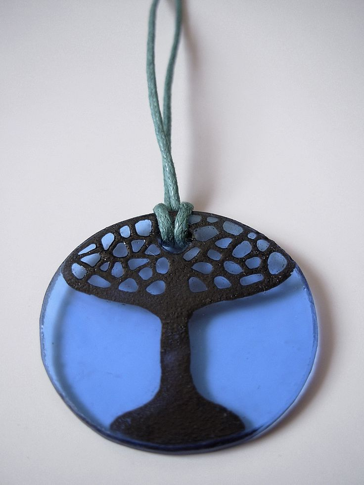 "The glass pendant ""Blue tree"""