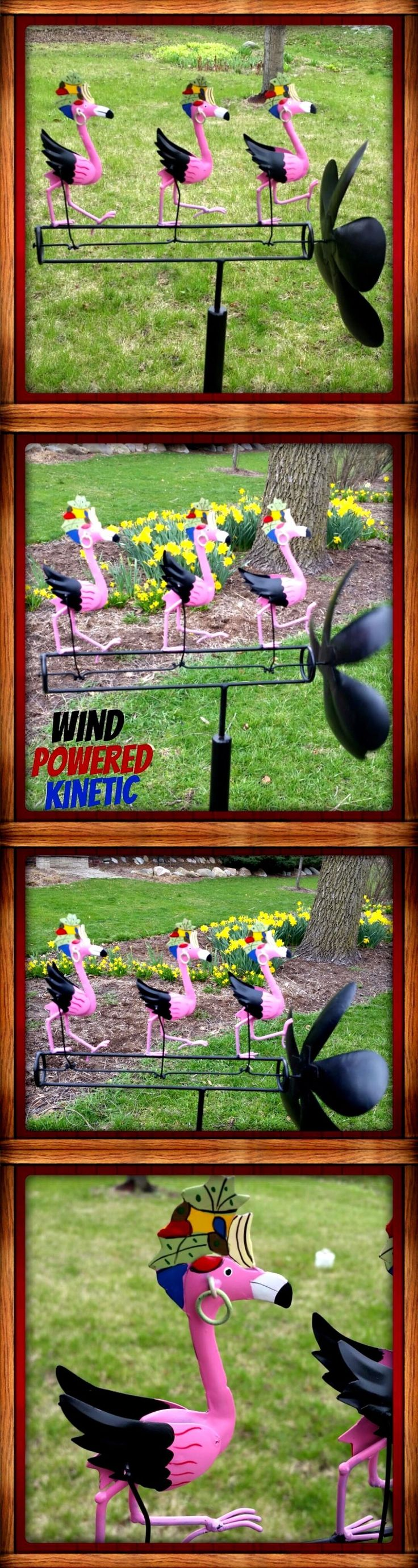 Windmills and Wind Spinners 115772: Pink Dancing Flamingos Whirligig Dancing Wind Spinner Yard Stake Yard Decoration -> BUY IT NOW ONLY: $53.99 on eBay!