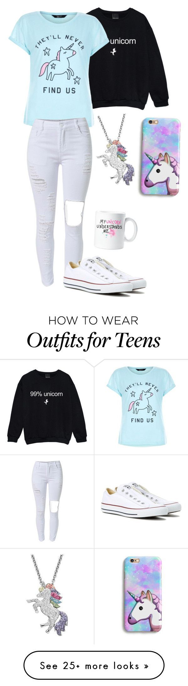 """Unicorn "" by band-life-for-me on Polyvore featuring New Look, Converse and Artistique Nail Design, Nail Art, Nail Salon, Irvine, Newport Beach"