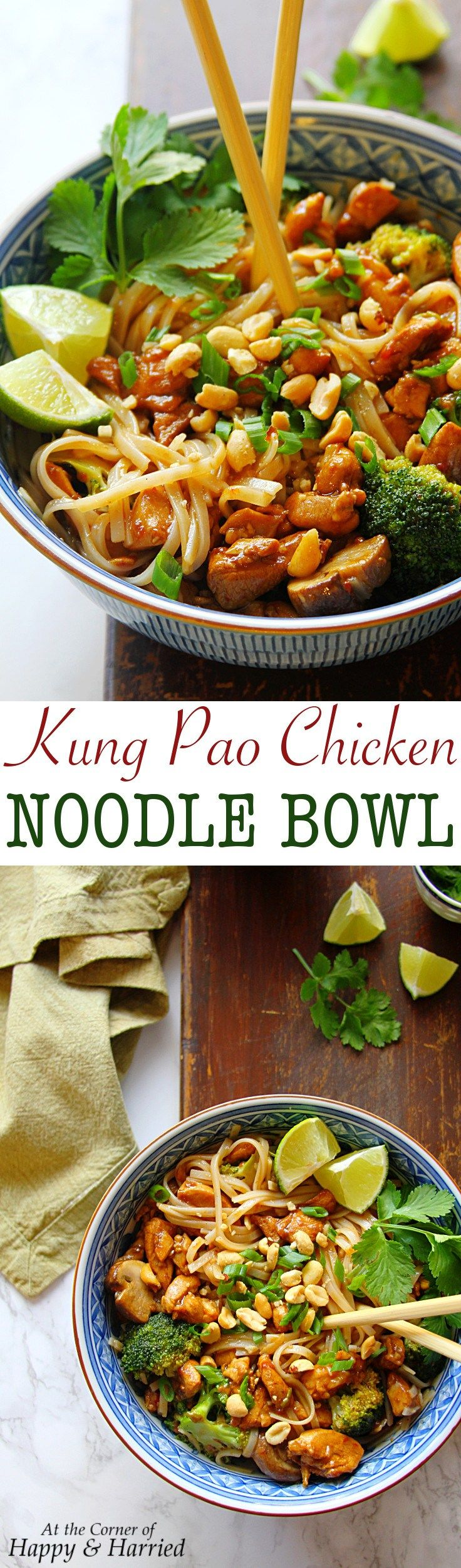 Kung Pao Chicken Noodle Bowl. This was a quick and tasty supper, tasted like wok box! Served over udon noodles.