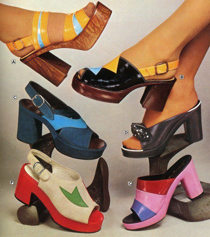 70s Platform is back in action today. Platforms are a way more comfortable shoe compared to heels. These platforms have come back today in so many different styles and colors. They are to be worn with socks, tights or neither.. They are very popular today 2017. Colette Smith