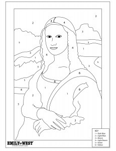 Mona lisa color by number i for Mona lisa coloring pages