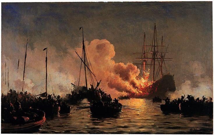 Carl Neumann (1833-1891): Linjeskibet Dannebroge brænder under Slaget i Køge Bugt 1710, 1886