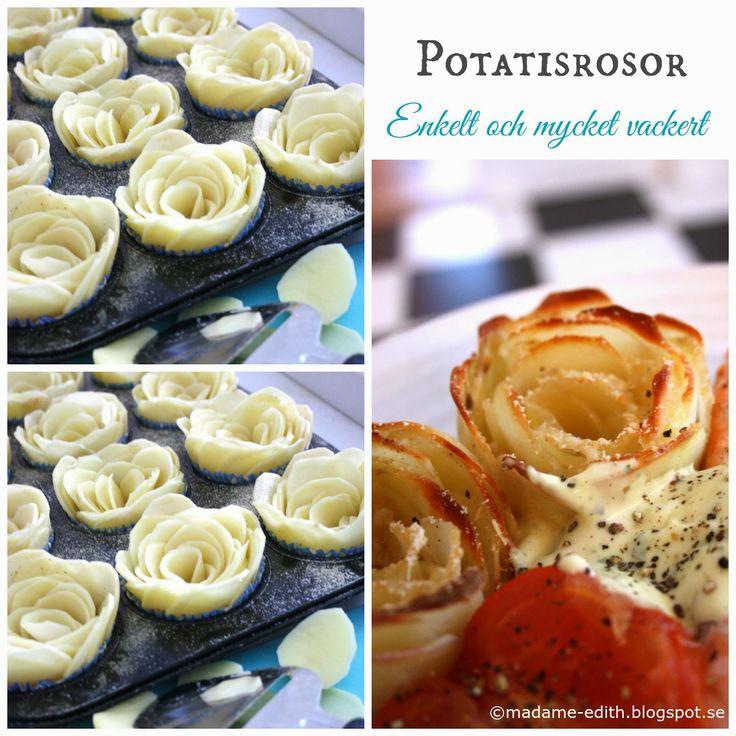 Potatisrosor - Enkelt att göra, gott och ser väldigt lyxigt ut!  Ingår i kategorin EDITHS BÄSTA >>    Recept   1 st stor fast potatis t...