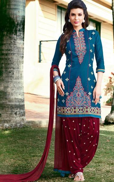 Melodic Cyan Blue Patiala Salwar Suit
