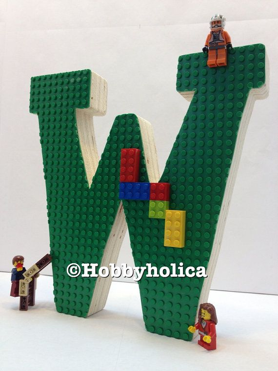 LEGO letter Freestanding wooden letter with Lego by hobbyholica, $20.00