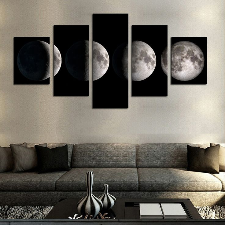 5 pieceno framemoon modern home wall decor canvas picture art hd print - Best Living Room