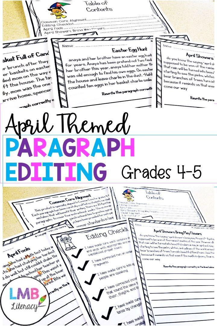 April Themed Paragraph Editing Worksheets Writing Practice Worksheets Paragraph Writing Teaching Writing Paragraph editing worksheets grade 4