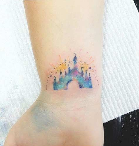 Watercolor, Disney Castle Wrist Tattoo Idea