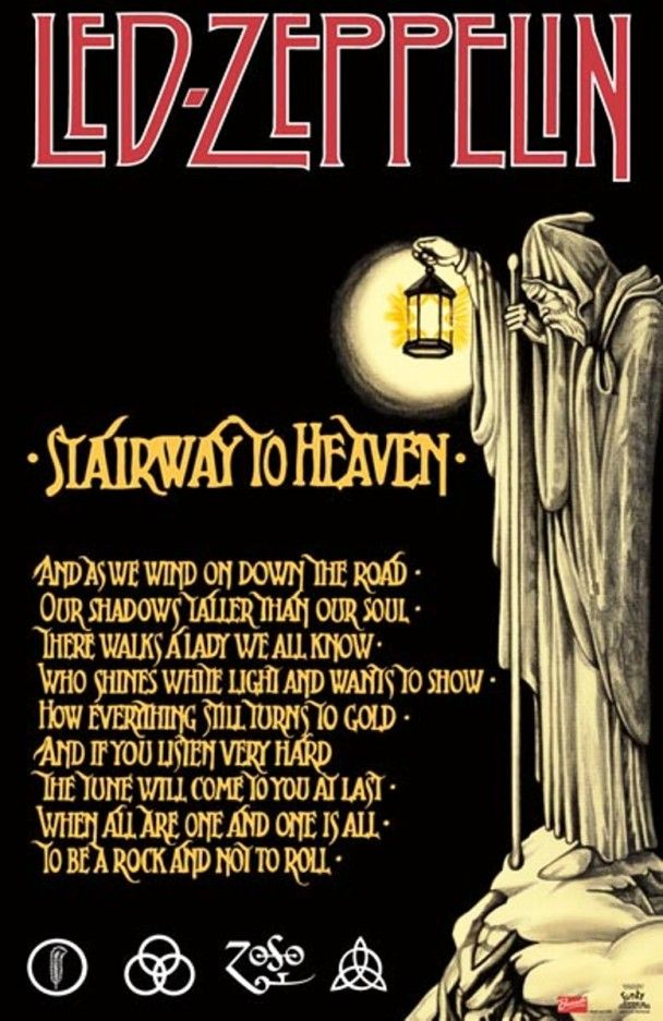 "Led Zeppelin, ""Stairway To Heaven"" Lyrics. Artwork: Archetypal Tarot No.10: The Hermit."